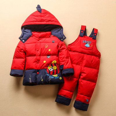 Fish Down Coat Hot 2016 New Winter Jacket Baby Children Girl Boy Thicken Warm coat+jumpsuit Thick Clothes Set Fish Down Coat