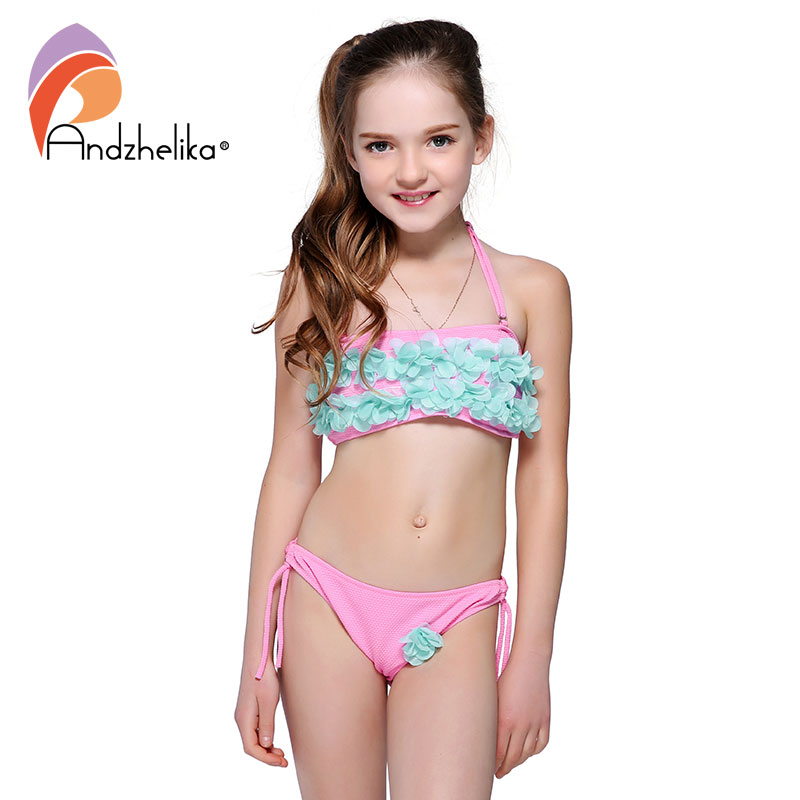 Andzhelika Bikini Children's Swimwear Solid Flowers Swimwear Summer Two Piece Kid Swimsuit Girls Beach Bathing Suit AK1657