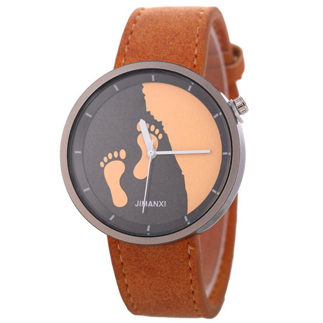 Retro Leisure time Quartz Women's Watch Clock relogio feminino Fashion Footprint