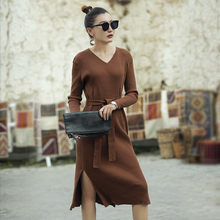 VERRAGEE women knitting pencil dress 2019 new spring winter knitted solid color brown mid-calf vintage v-neck sweater