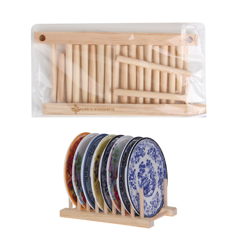 Wooden Kitchen Organizer Dishes Drainboard Drying Drainer Storage Kitchen Cabinet Organizer Accessories Flatware Dish Rack Shelf