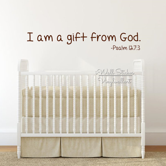 Gift From God Quote Wall Sticker Baby Nursery Quotes Decal Kids Room Cut Vinyl Children Stickers Q236