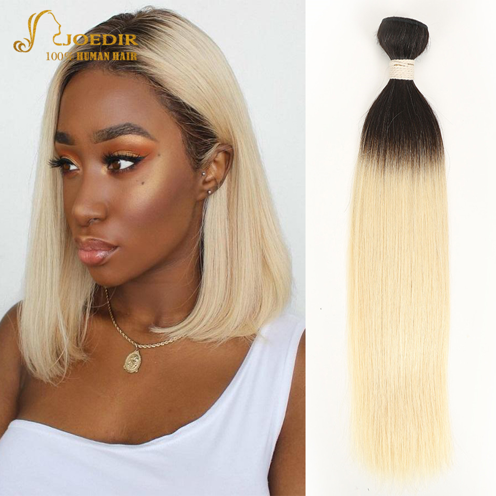 Joedir Pre-Colored Brazilian Remy Hair Straight Human Hair Weave Bundle Deal T1B 613 Lightest Blonde 30 inch Ombre Hair Bundles image