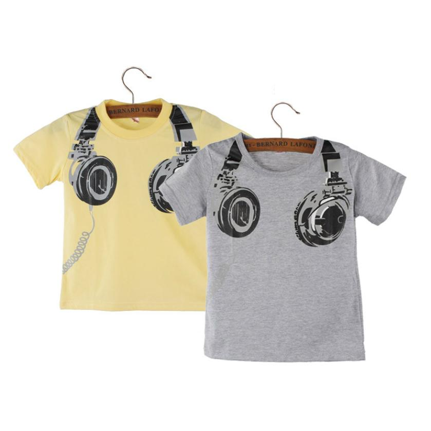 baby boy clothes Boy Kids Summer Casual Headphone Short Sleeve Tops Blouses T Shirt Tees Clothes nice vetement garcon
