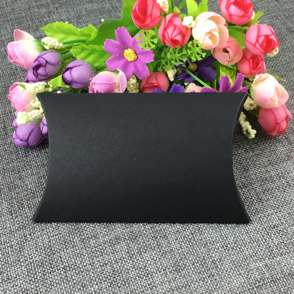 Festive & Party Supplies 100pcs/lot 12.5*8*2cm Jewelry Kraft Paper Black Pillow Shape Box Display Package Band Box For Candy/toy/gift Accept Custom Logo Great Varieties Event & Party