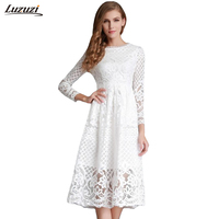 1PC Women Dress Sexy Hollow Out Lace Dress Elegant Party Dresses Vestido De Festa 2016 Summer