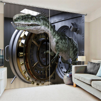 Curtains Dinosaur Luxury  Blackout 3D Wdowin Curtains For Living Room kids Bedroom  Drapes cortinas Rideaux Customized size