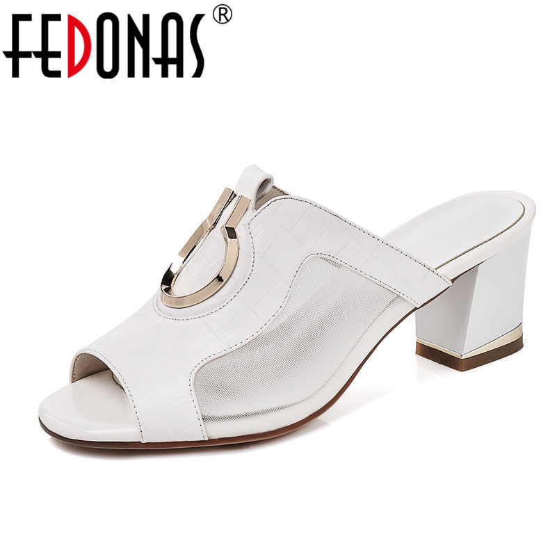 FEDONAS 2020 Brand Women Genuine Leather Shoes Woman Metal Decoration Sandals Rome Slippers Casual High Heeled