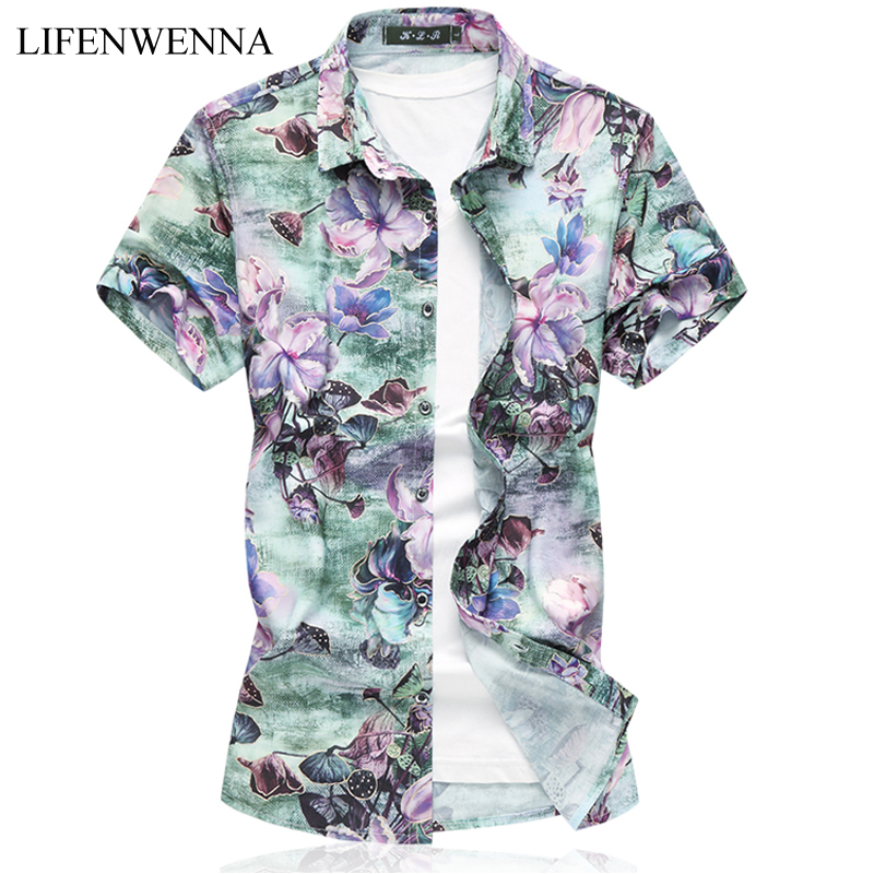 6XL 7XL Mens Summer Shirt 2018 New Fashion Flower Short Sleeve Shirt Mens Clothes Trend Casual Floral Plus Size Shirts Men ...