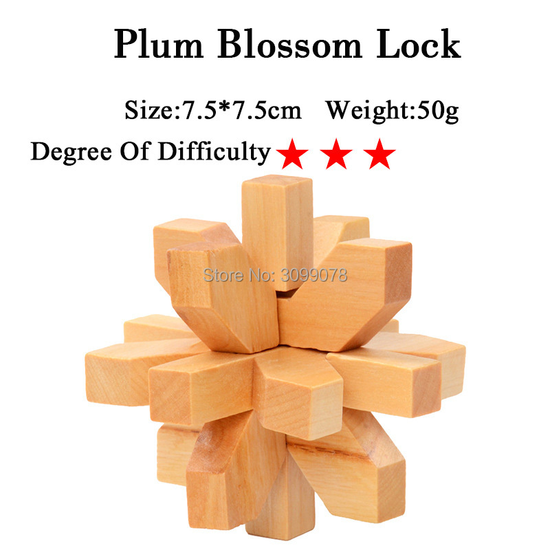 IQ Brain Teaser Kong Ming Lock Lu Ban Lock 3D Wooden Interlocking Burr Puzzles Game Toy For Adults Kids 6