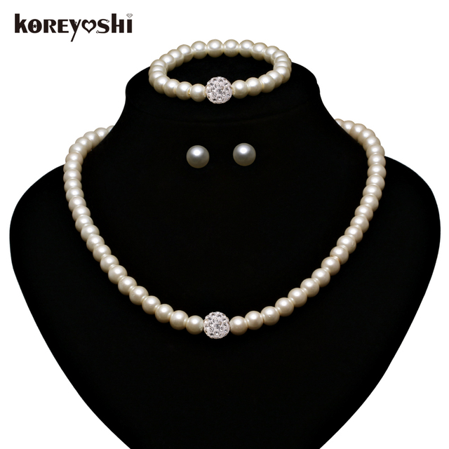 Jewelry Sets 2016 new Fashion Imitation White Natural pearl jewellery set Rhinestone Ball wedding accessories for women Schmuck