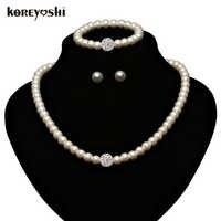 Perle Schmuck Sets macht Mode Nachahmung Natürlicher perlen hochzeit schmuck set zubehör Strass Ball für frauen Schmuck