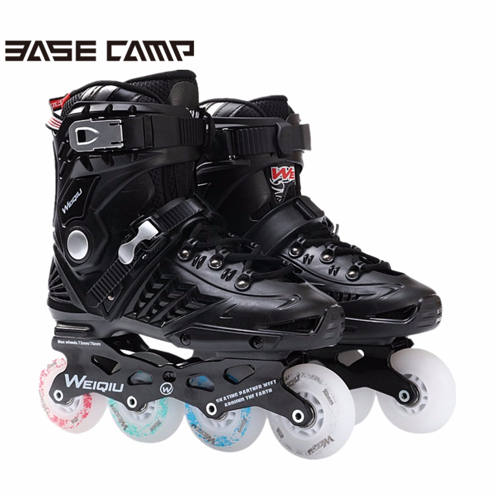 Basecamp 1Pair Skates 8 Wheels Full Flash LED Wheel Skates Fancy Straight Adult Roller Skates Professional Men&Women Skates Shoe reniaever double roller skates skating shoe gift girls black wheels roller shoe figure skates white free shipping