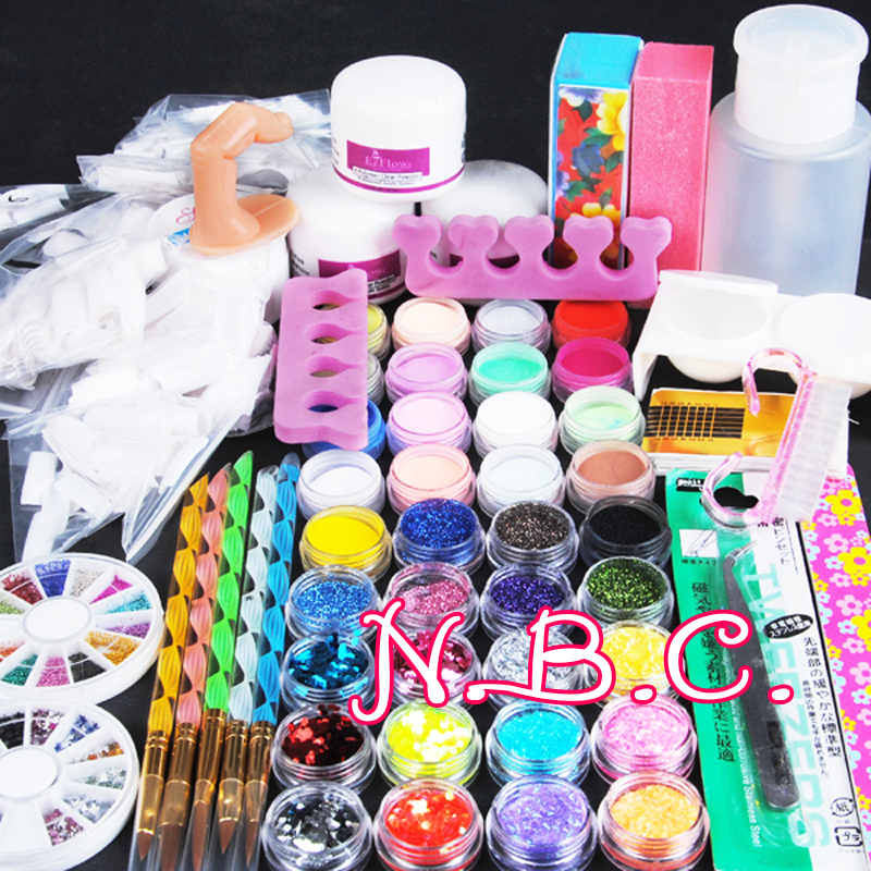 Nail Art Tool Kit: Acryilc Powder Dust Nail Art Kit French Tips Glitter File