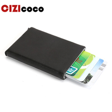Women Men Antitheft Metal Card Holder Fashion RFID Aluminium Credit Card Fashion PU Leather Travel Card Wallet fashion card