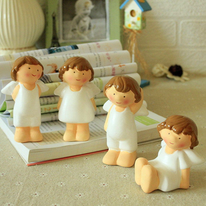 4pcs ceramic angel girls figurines home decor crafts room decoration ceramic kawaii ornament figurine wedding decoration