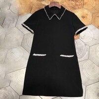 Роскошное платье для женщин 2019 платье с пайетками черные рукава Модные женские элегантные платья Большой размер Бисероплетение А силуэта П