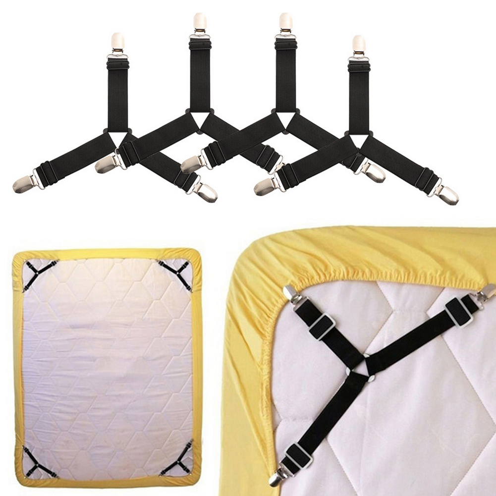 4pcs Buckle Elastic Band Sheet Fixer Holder For Bed Sheets Non Slip Sheet Fixer Holder Bedding Article Accessory