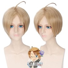 Axis Powers America Alfred F. Jones Cosplay Wig Short Straight White Heat Resistant Synthetic Anime Wig for Man Fake Hair Wig(China)