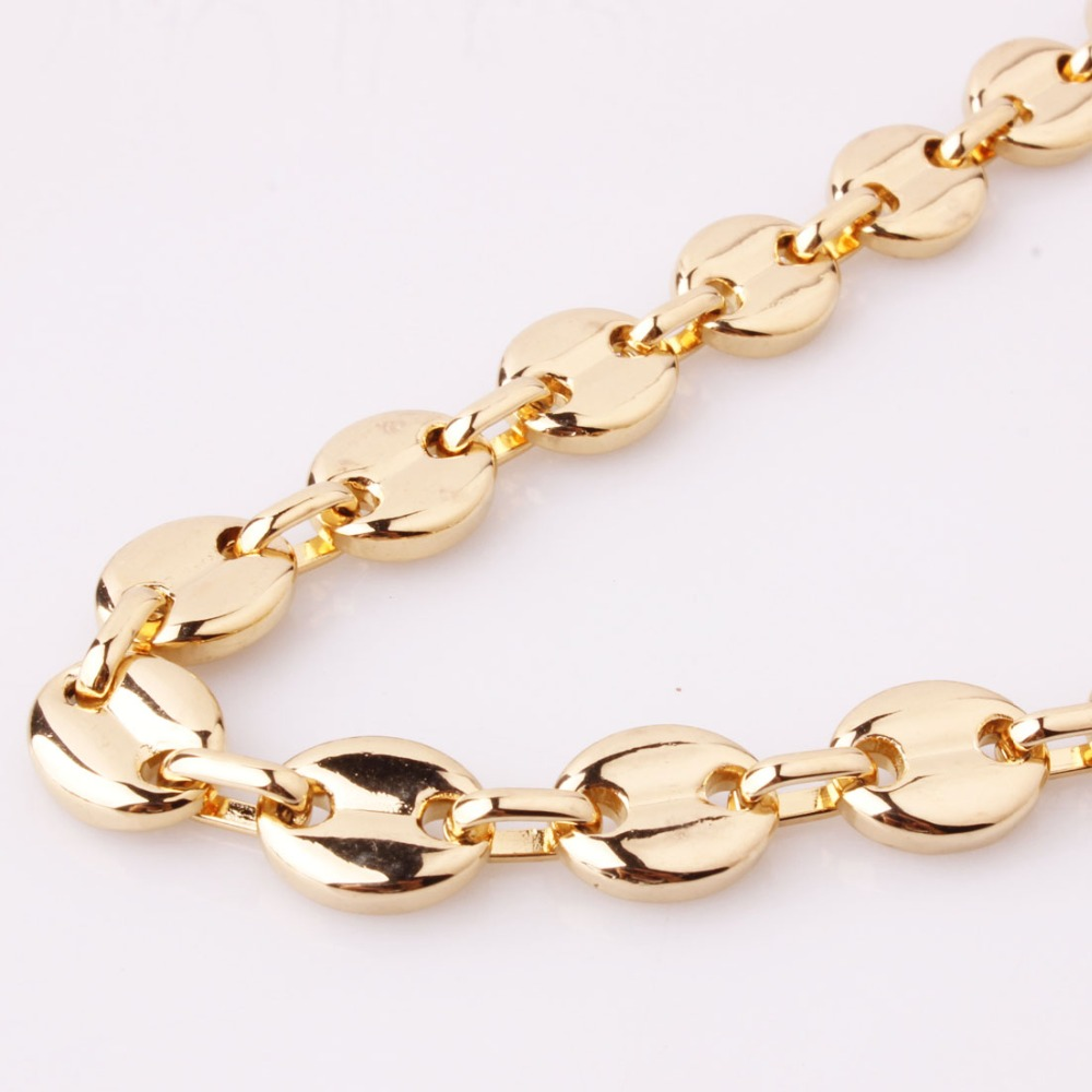 11mm 7-40inch Hot Sale Stainless Steel Silver/Gold Tone coffee bean Chain Men's Women's Jewelry Necklace Or Bracelet Friend Gift