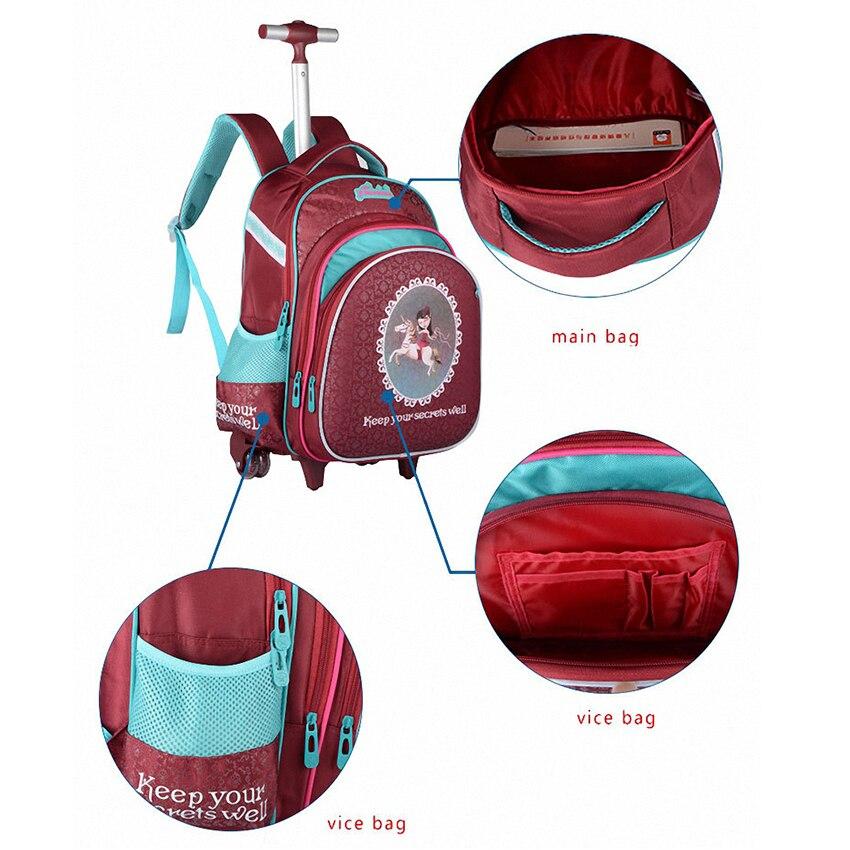 JASMINESTAR 3PCS Trolley School Bags Girl Laptop Backpacks Kids Satchel Luggage Large Capacity Wheeled School Bags For Girls 4