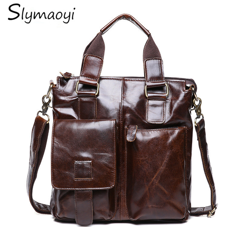2016 Genuine Leather Bags Men High Quality Messenger Bags Casusl Travel Dark Brown Crossbody Shoulder Bag For Men hot 2017 genuine leather bags men high quality messenger bags small travel black crossbody shoulder bag for men li 1611