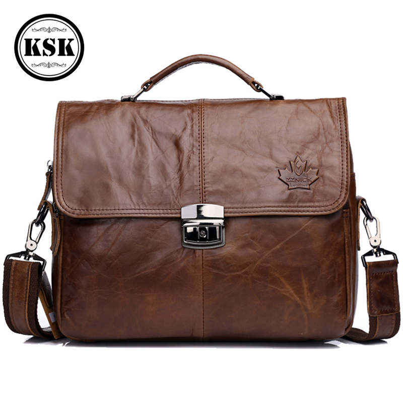 Men Genuine Leather Bag Shoulder Handbag Vintage Leather Office Bags For Men Briefcase Messenger Bag 2019 Luxury Handbags KSK