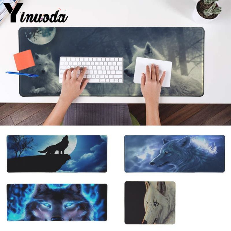 Yinuoda Beautiful Anime Wolf Animal Customized laptop Gaming mouse pad Size for 180*220 200*250 250*290 300*900 and 400*900*2mm