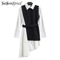 החליפה של נשים שמלת חולצה TWOTWINSTYLE חתיכה שתי להגדיר ארוך שרוול תחרה עד שחור לבן בגדי Asymetrical Vest בנות נקבה קוריאני