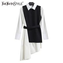 TWOTWINSTYLE camisa de las mujeres vestido de traje de dos piezas conjunto  de manga larga de encaje blanco y negro asimétrico ve. a247865c4697