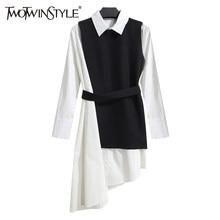 TWOTWINSTYLE koszula sukienka damska garnitur dwuczęściowy zestaw z długim rękawem zasznurować czarny biały asymetryczna kamizelka do sukienki ubrania damskie koreański