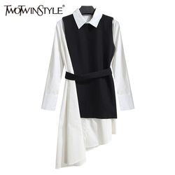 TWOTWINSTYLE Shirt Dress Women's Suit Two Piece Set Long Sleeve Lace Up Black White Asymetrical Vest Dress Female Clothes Korean