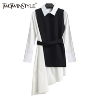 TWOTWINSTYLE 2017 Spring Women Two Pieces Suit Long Sleeve Fold Over Collar Asymetrical Hem White