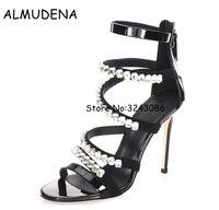 Luxury Rhinestone Diamond Lady High Heels Sandals Wedding Party Dress Shoes Crystal Thin Heels Strap Sandals