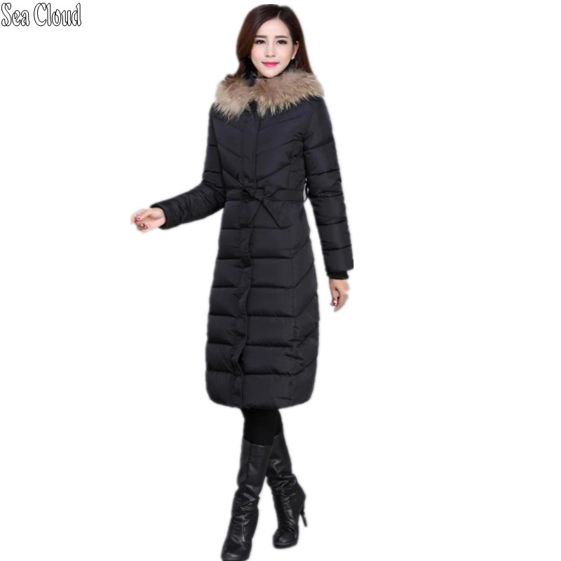 Sea Cloud free shipping Winter female medium-long plus size xl-5xl wadded jacket women's lacing down cotton-padded jacket thick