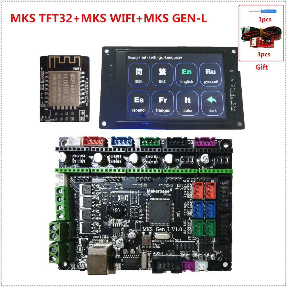 MKS GEN-L MKS TFT35 touch screen display MKS TFT WIFI module 3D printer shield control panel mainboard diy starter kits mks gen l mainboard mks wifi module mks tft35 lcd tft 35 display controller suite cheap 3d printer control unit diy starter kit