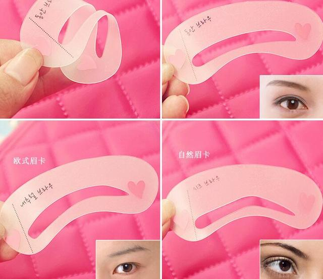 3pcs / 24Pcs/set Thrush Card Threading Word Eyebrow Makeup Tools Threading Artifact Thrush Aid Card Eyebrows Mold 4