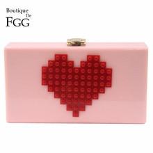 Ladies Red Heart Shape Pink Acrylic Box Clutch Bag Women Evening Bag Wedding Party Prom Shoulder Handbag Hardcase Metal Clutches