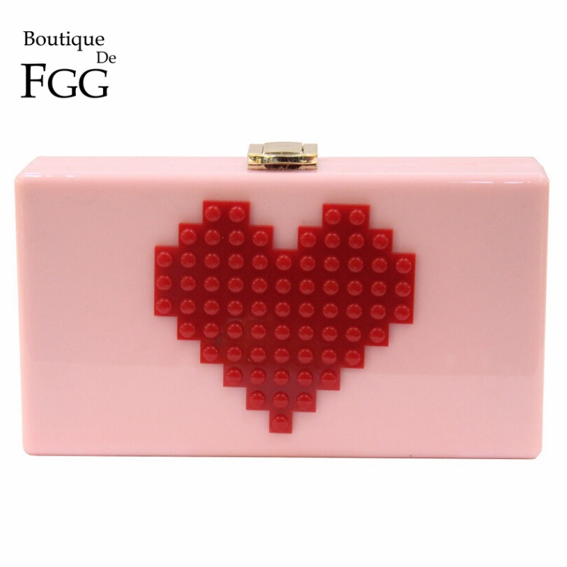 Señoras Rojo en Forma de Corazón Rosa Caja De Acrílico Embrague Bolsa Mujeres Bo