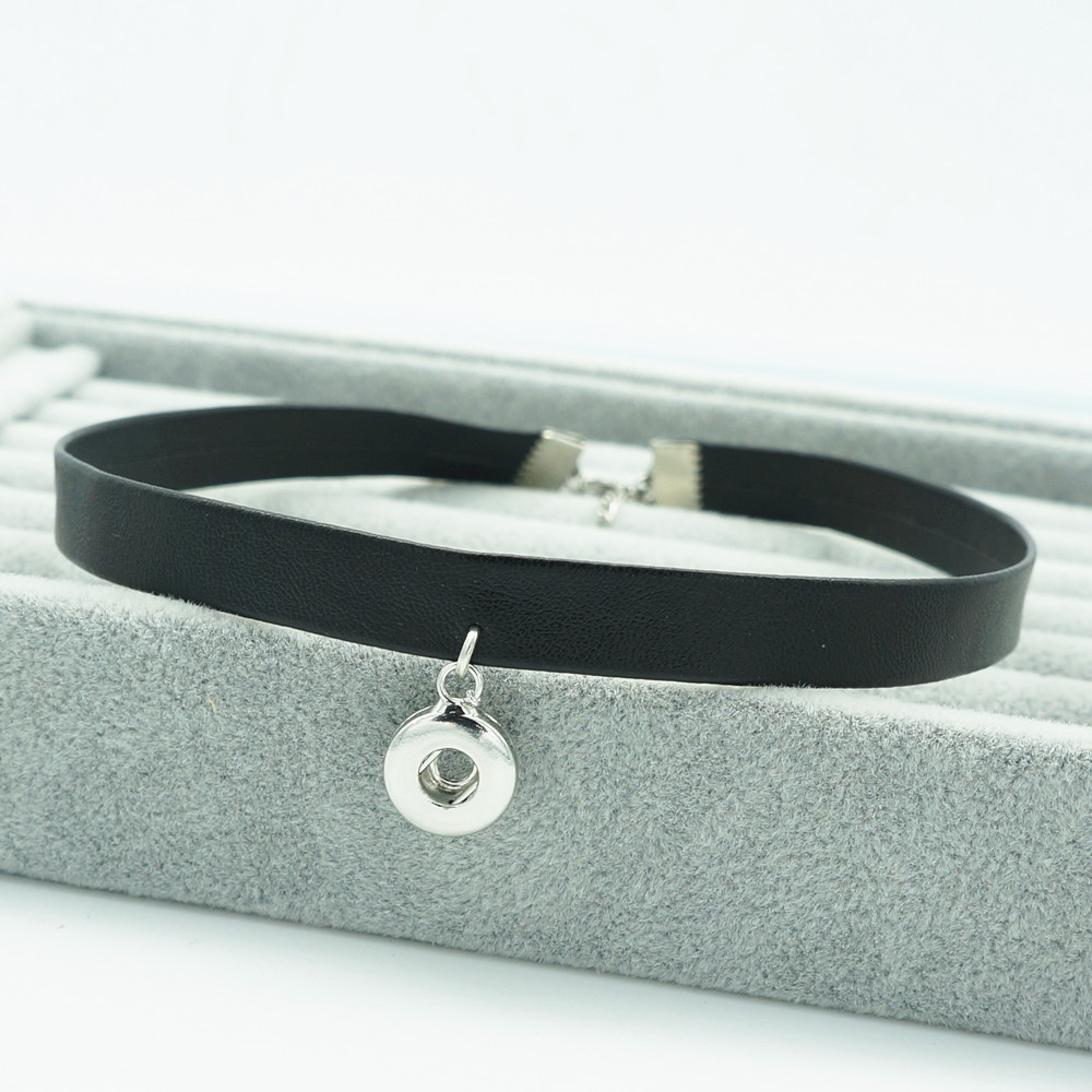 NEW Fashion DJ0103 Punk Black Soft Leather Collar Choker Funky trendy snap Necklace fit 12MM charm snap buttons snap jewlery image