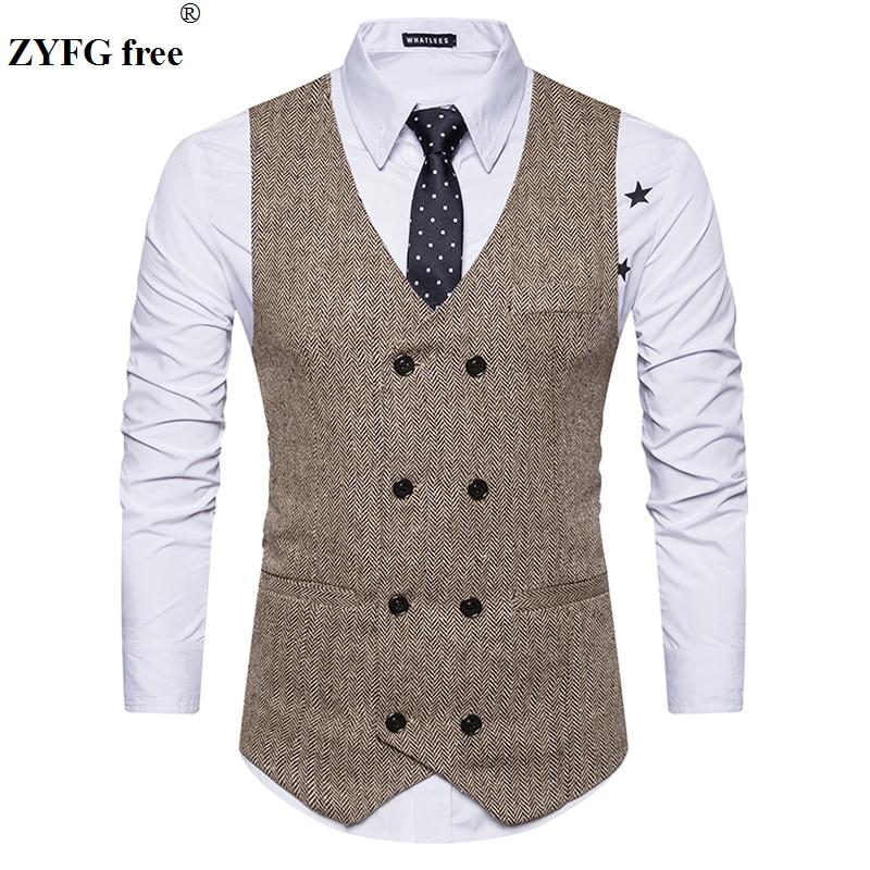Suit Vest Douber Breaseted Vintage-Design Men's Casual New-Fashion Tops Cashmere-Blends