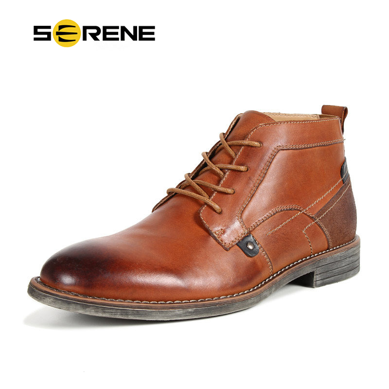 SERENE Brand New Style Men Boots Plus Size 40~45 Men Ankle Boots Fashion Men Winter Boots Super Warm Winter Shoes Handmade Boots bimuduiyu new arrival fashion handmade super warm autumnwinter men shoes casual british style ankle boots wipe color snow boots
