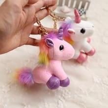 Unicorn Keychain Bag Pendant Jewelry Animal Cartoon Charms Car-Key-Holder Gift Cute Colorful