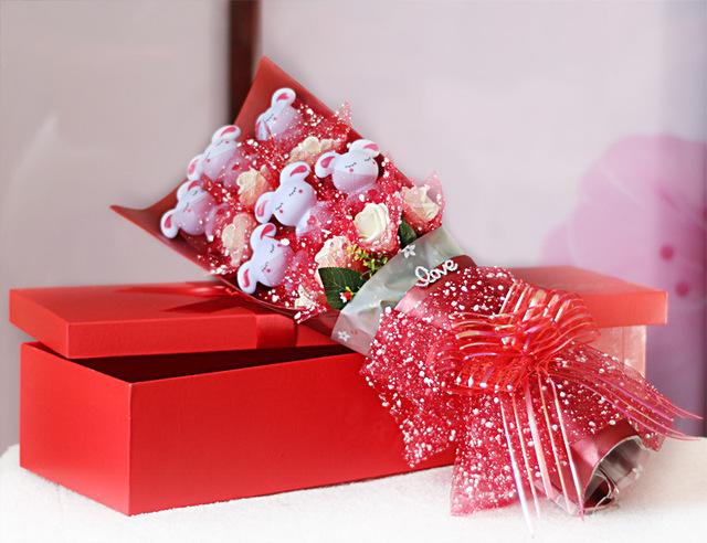 Creativa conejo de dibujos animados de color iluminan flor Día de San Valentín regalo de cumpleaños flores decoración luz