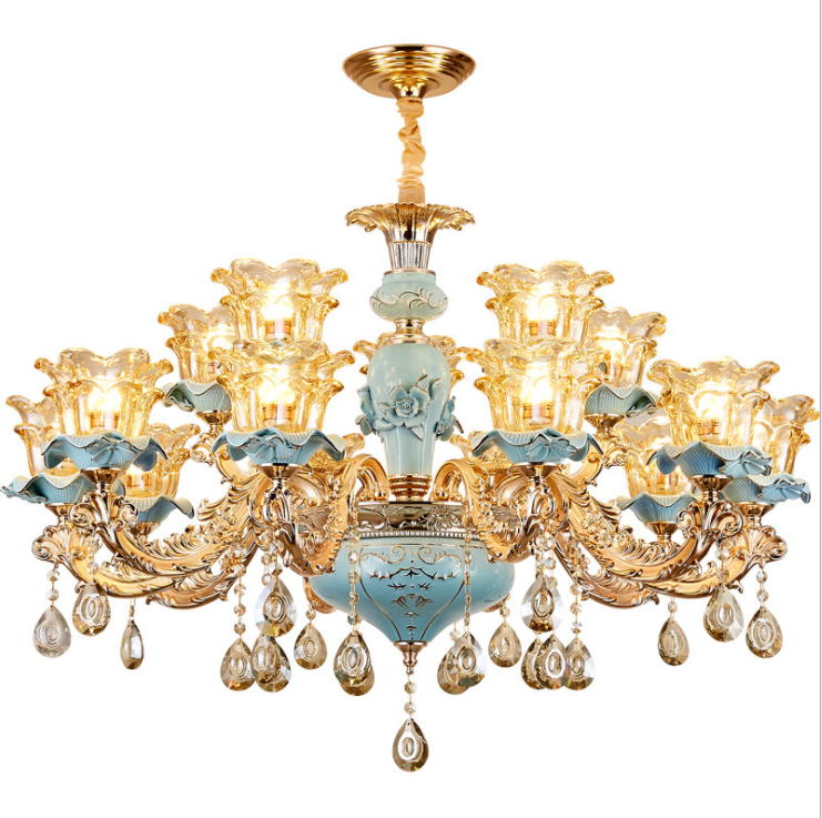 European-style luxury living room chandelier Jane European American blue ceramic crystal chandelier 2019 new bedroom.European-style luxury living room chandelier Jane European American blue ceramic crystal chandelier 2019 new bedroom.