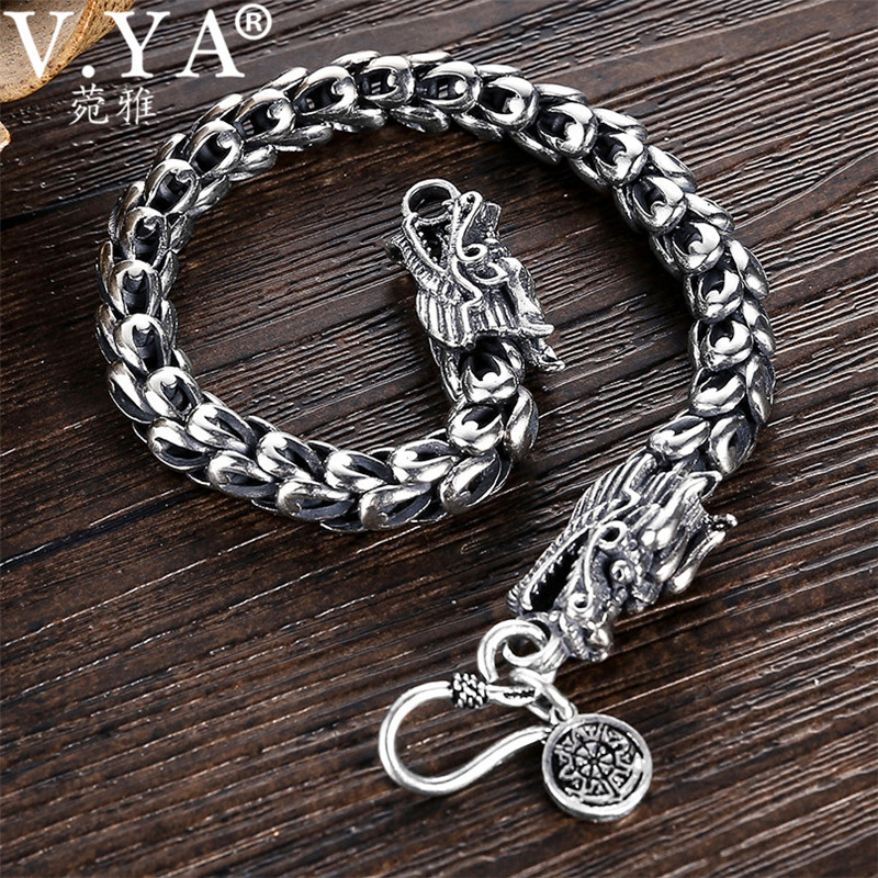 V YA 4 8mm Mens Dragon Scale Bracelet 925 Sterling Silver Bracelets for Men Women Couples