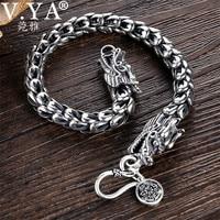 V.YA 4 8mm Mens Dragon Scale Bracelet 925 Sterling Silver Bracelets for Men Women Couples Silver Jewelry 18 22cm