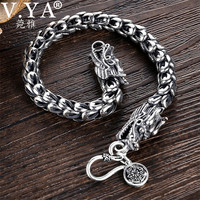 V.YA 4 8mm Mens Dragon Scale Bracelet 925 Sterling Silver Bracelets for Men Women Couples Silver Jewelry 18 22cm