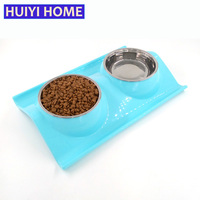 Pet Feeder Dog Tray Stainless Steel Double Bowl Leak Proof For Cats Dogs Eating Food And Drinking Water Dish ENI008