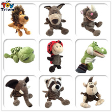 Plush Hand Puppet Toy Doll Tiger Dog Lion Hippo Rhino Racoon Parent-child Interactive Game Baby Kids Birthday Gift Triver
